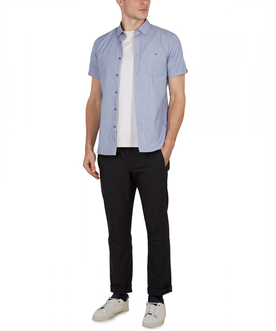 Image for Walman Shortsleeve Fine Stripe Shirt in Navy