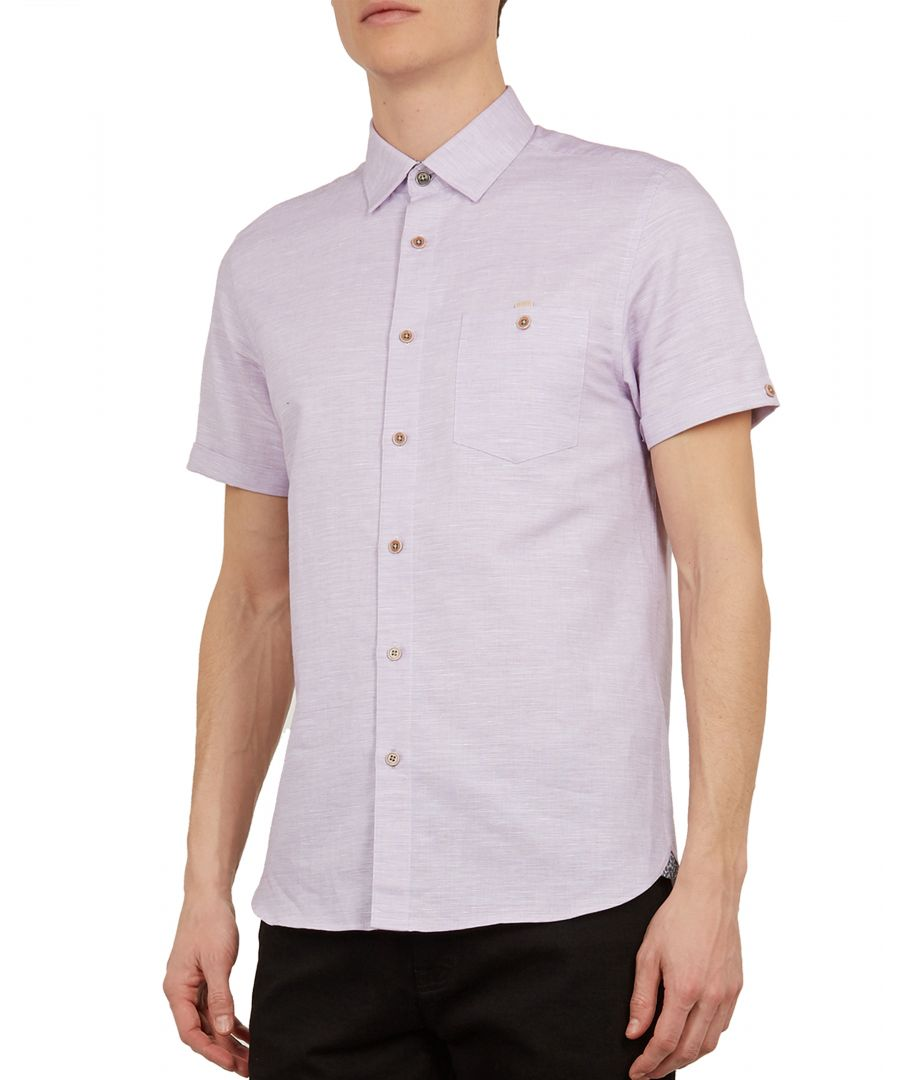 Image for Clion Shortsleeve Linen Shirt in Purple