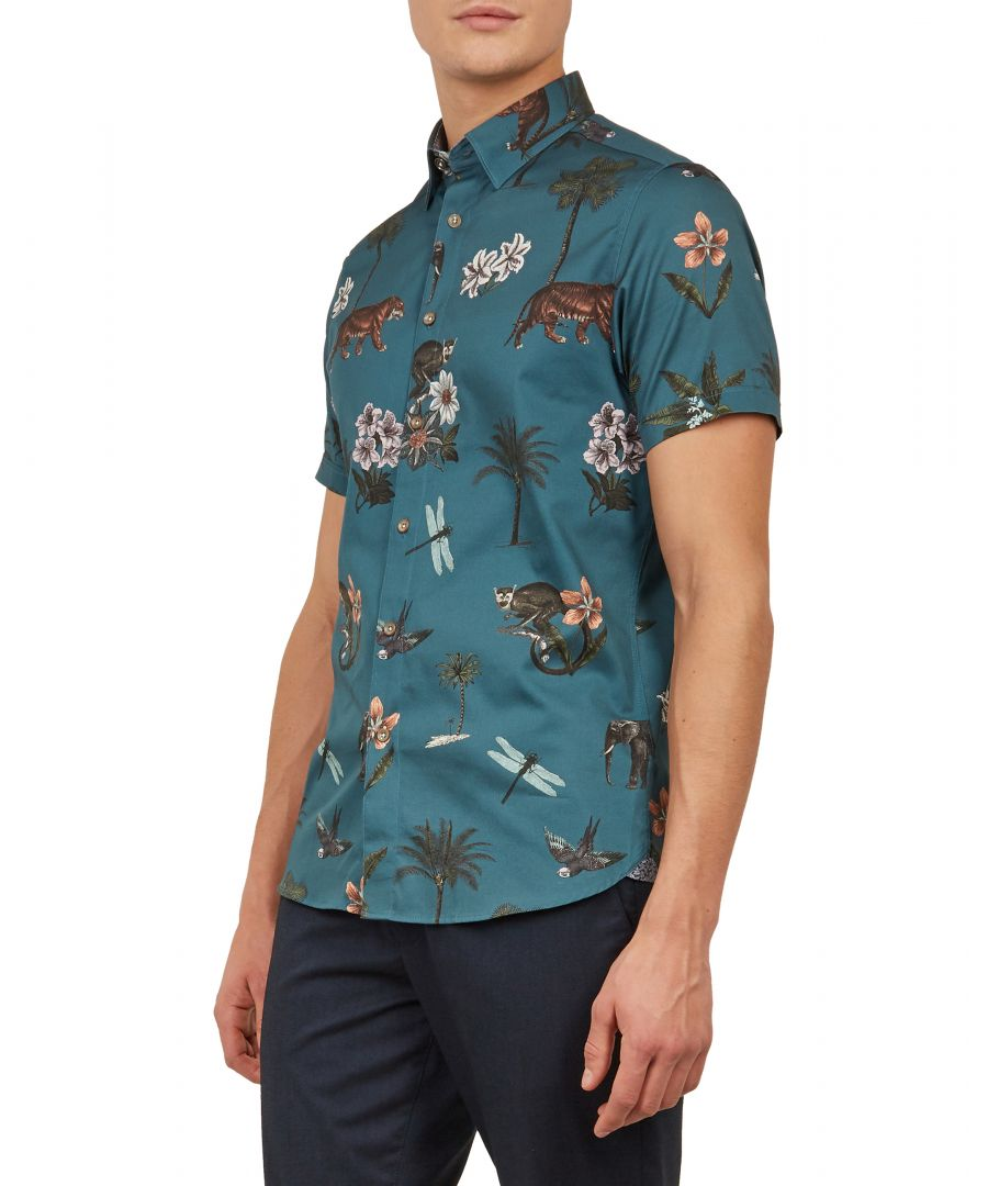 Image for Group Shortsleeve Animal Print Shirt in Teal