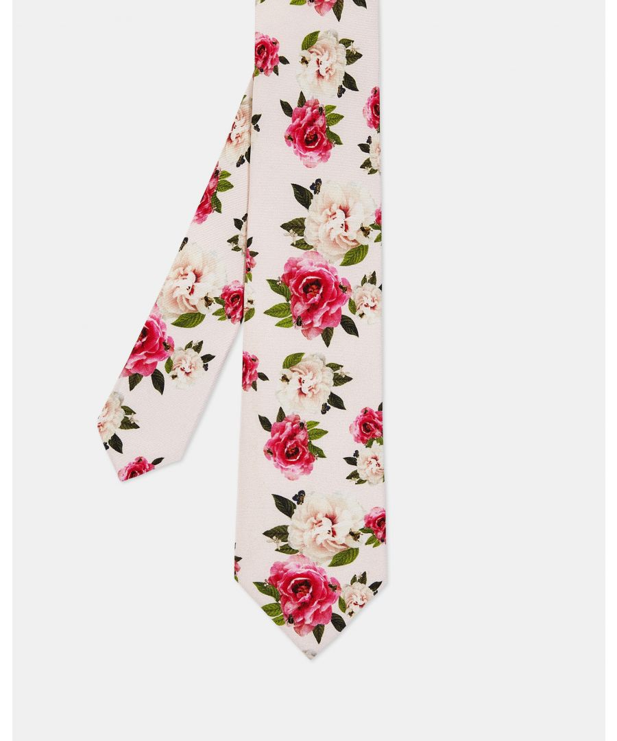 Image for Rosetie Rose Print 7Cm Tie in Pink