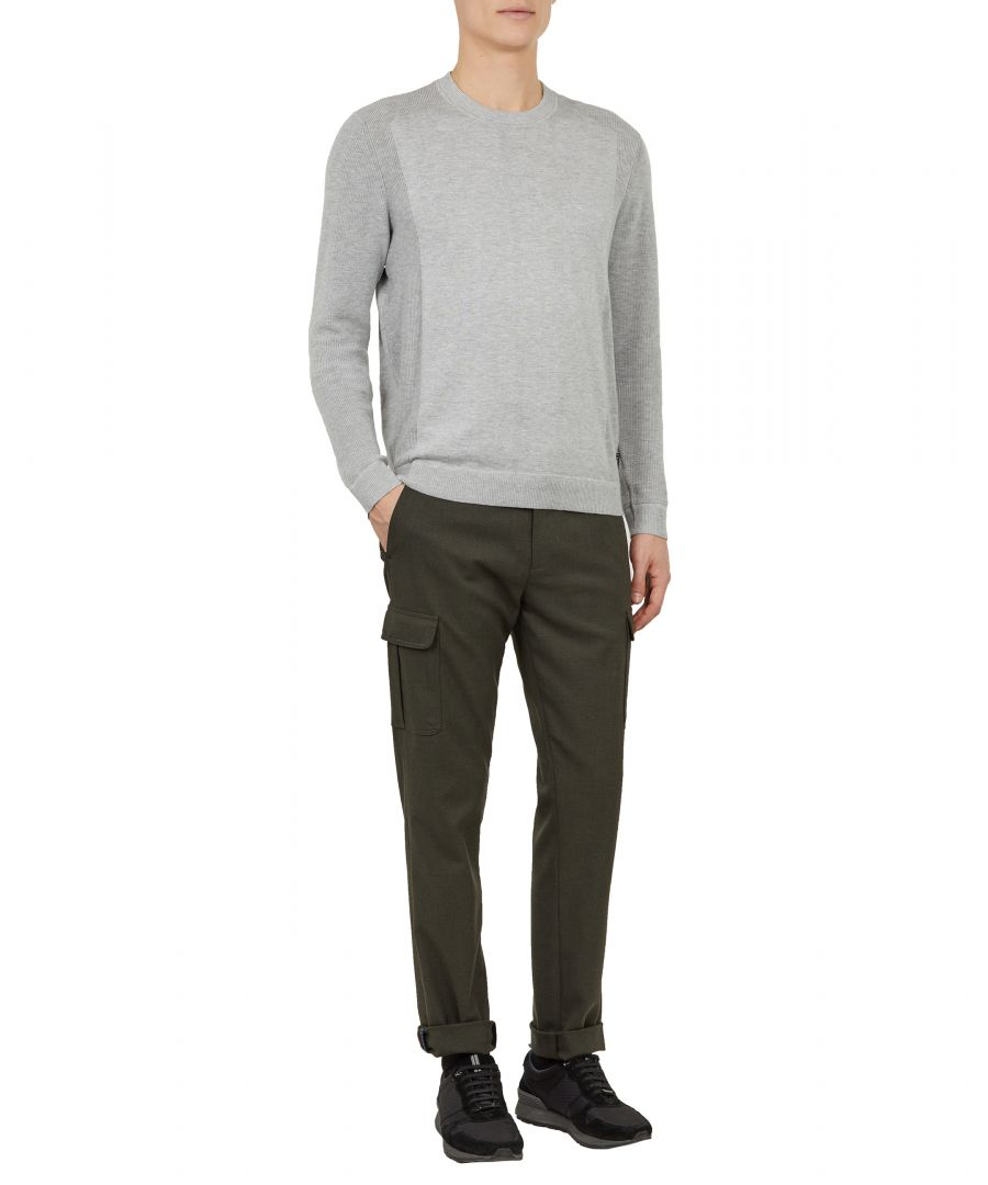 Image for Trull Longsleeve Textured Sleeve Crew Neck in Grey
