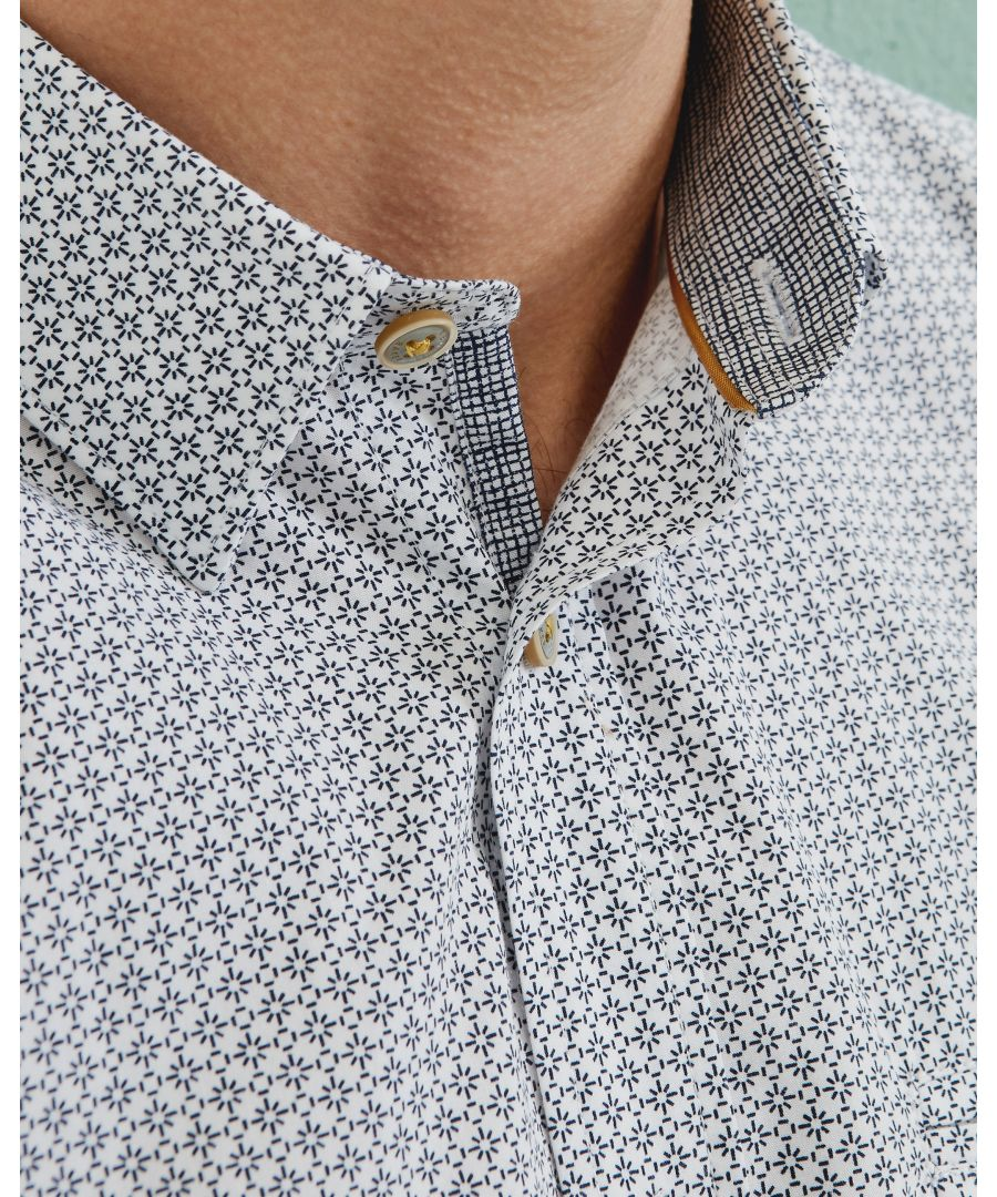 Image for Ted Baker Rinalin Geo Print Cotton Shirt, White