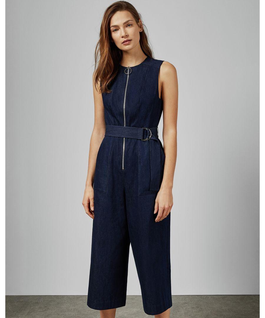 Image for Ted Baker Aqquaa Denim Zip Front Jumpsuit, Dark Blue