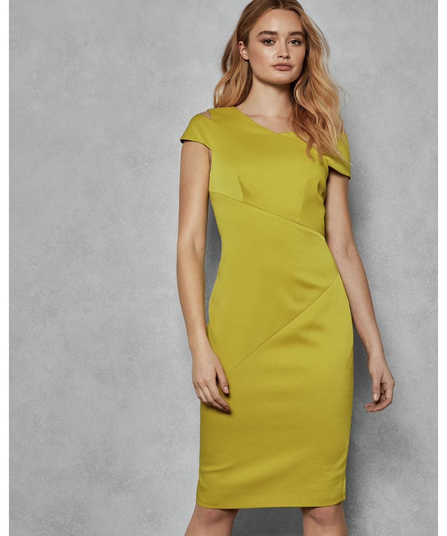 Image for Ted Baker Aspyn Asymmetric Bodycon Dress, Mid Yellow