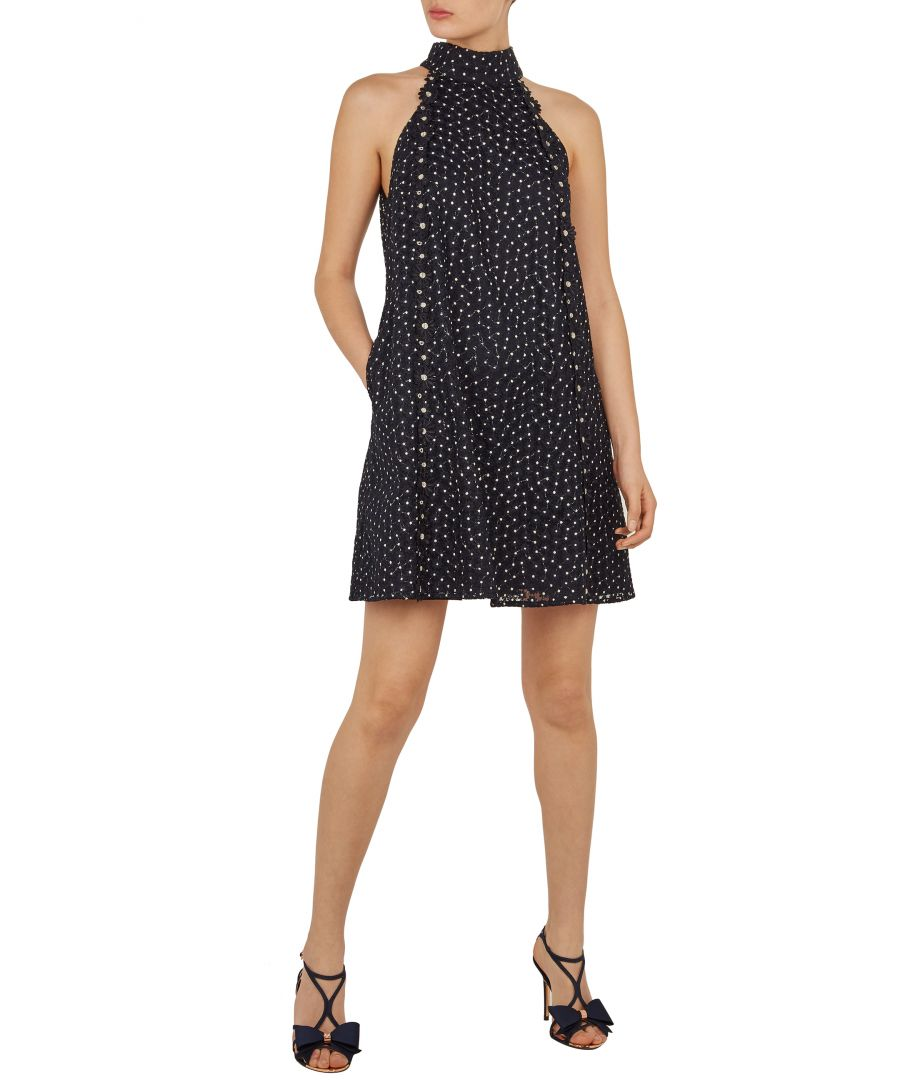 Image for Daysil Daisy Lace Halter Tunic in Navy