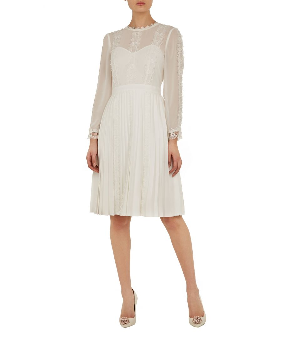 Image for Diannah Lace Trim Pleated Skirt Dress in Ivory