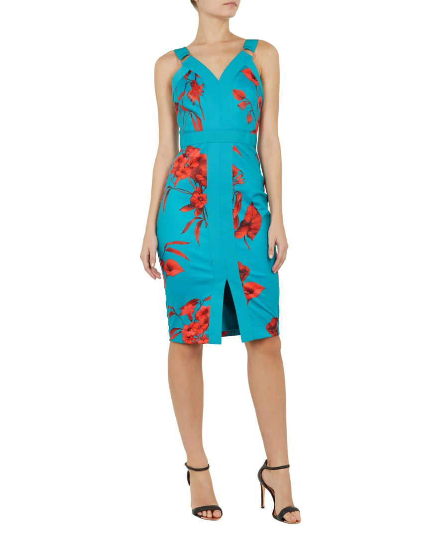 Image for Jordja Fantasia Panel Bodycon Dress in Turquoise