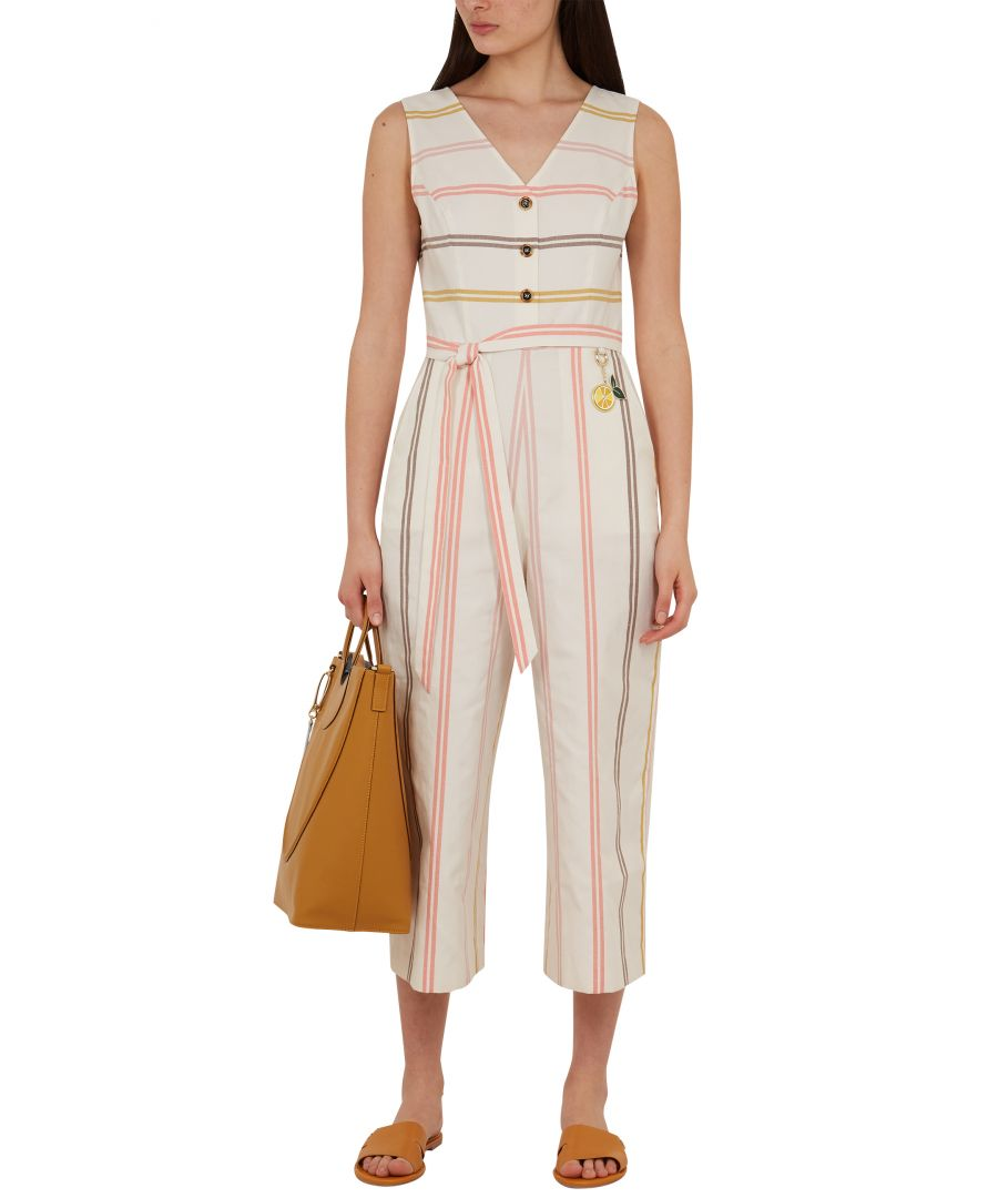 Image for Peruue Cbn Striped Linen Jumpsuit in Ivory
