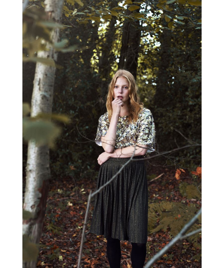Image for Bianca Midi Glitter Jersey Skirt in Black and Gold