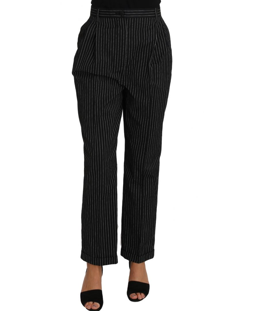 Image for Dolce & Gabbana Black Pin Striped Dress Pants Cropped Straight Pant