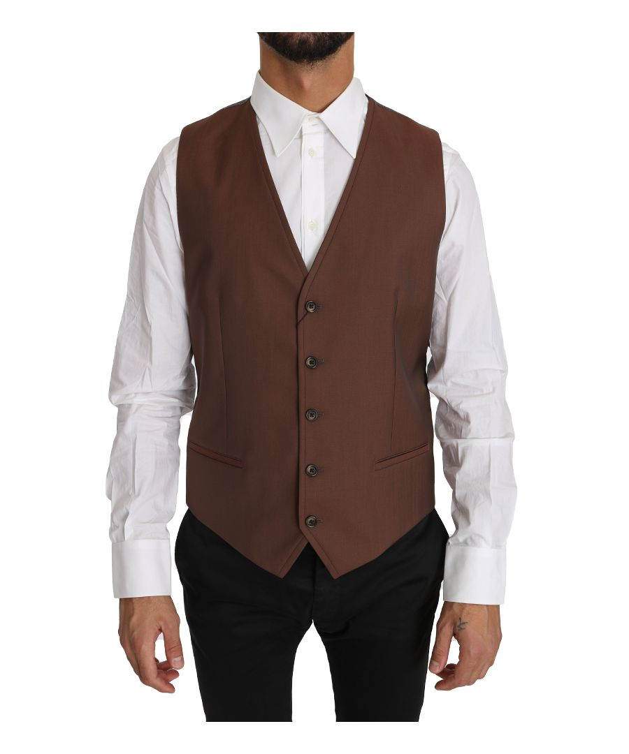 Image for Dolce & Gabbana Brown Wool Silk Waistcoat Vest