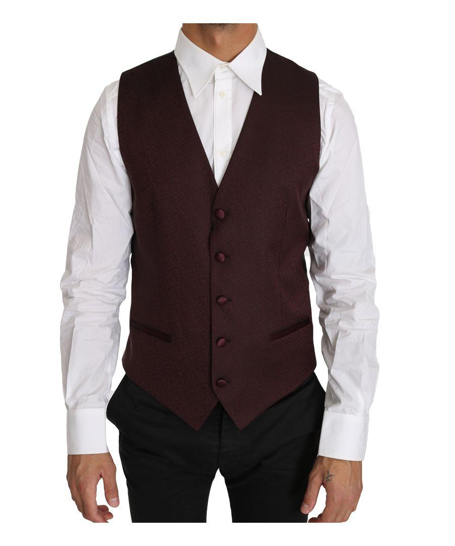 Image for Dolce & Gabbana Purple Pattern Wool Silk Waistcoat Vest