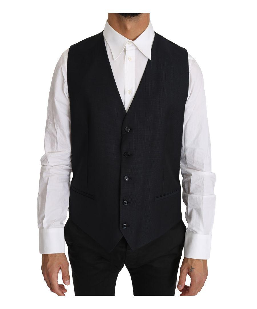 Image for Dolce & Gabbana Gray Wool Silk Waistcoat Vest
