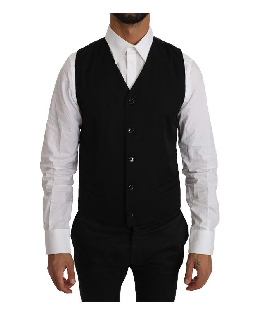 Image for Dolce & Gabbana Black Solid 100% Wool Waistcoat Vest