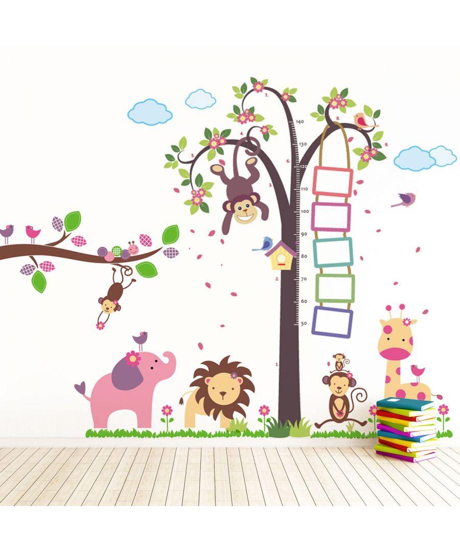 Image for Wall Art - Nursery Monkey Height Measure + Huge Elephant Animals with Monkey