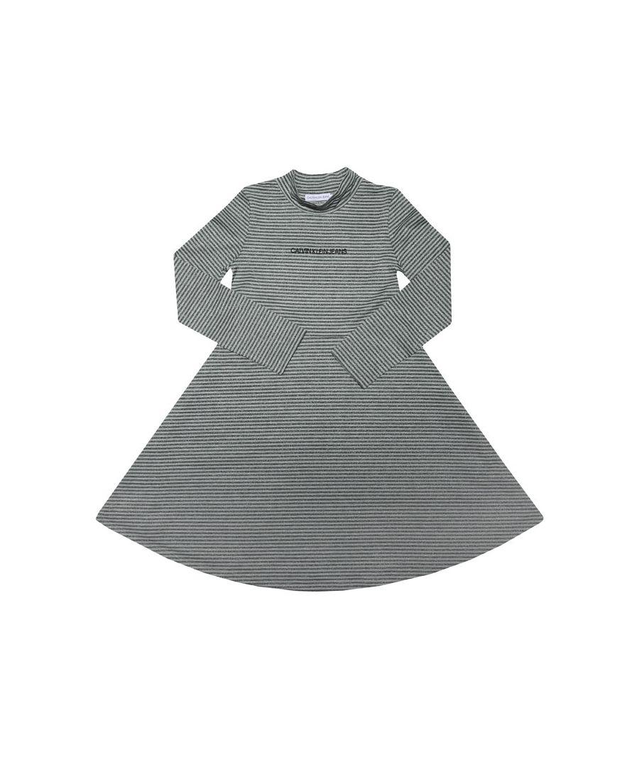 Image for Girls' Calvin Klein Junior Lurex Stripe Skater Dress In Black Grey