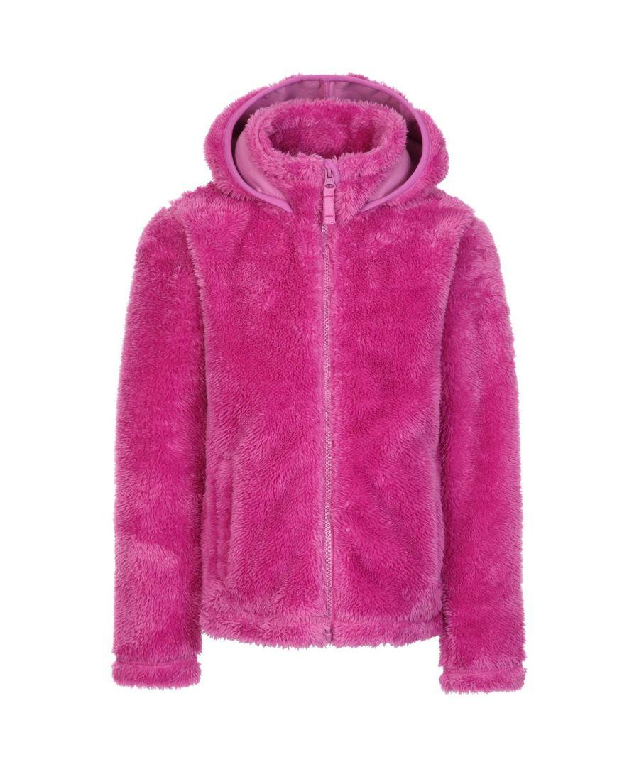 Image for Trespass Girls Violetta Fluffy Fleece Jacket (Deep Pink)