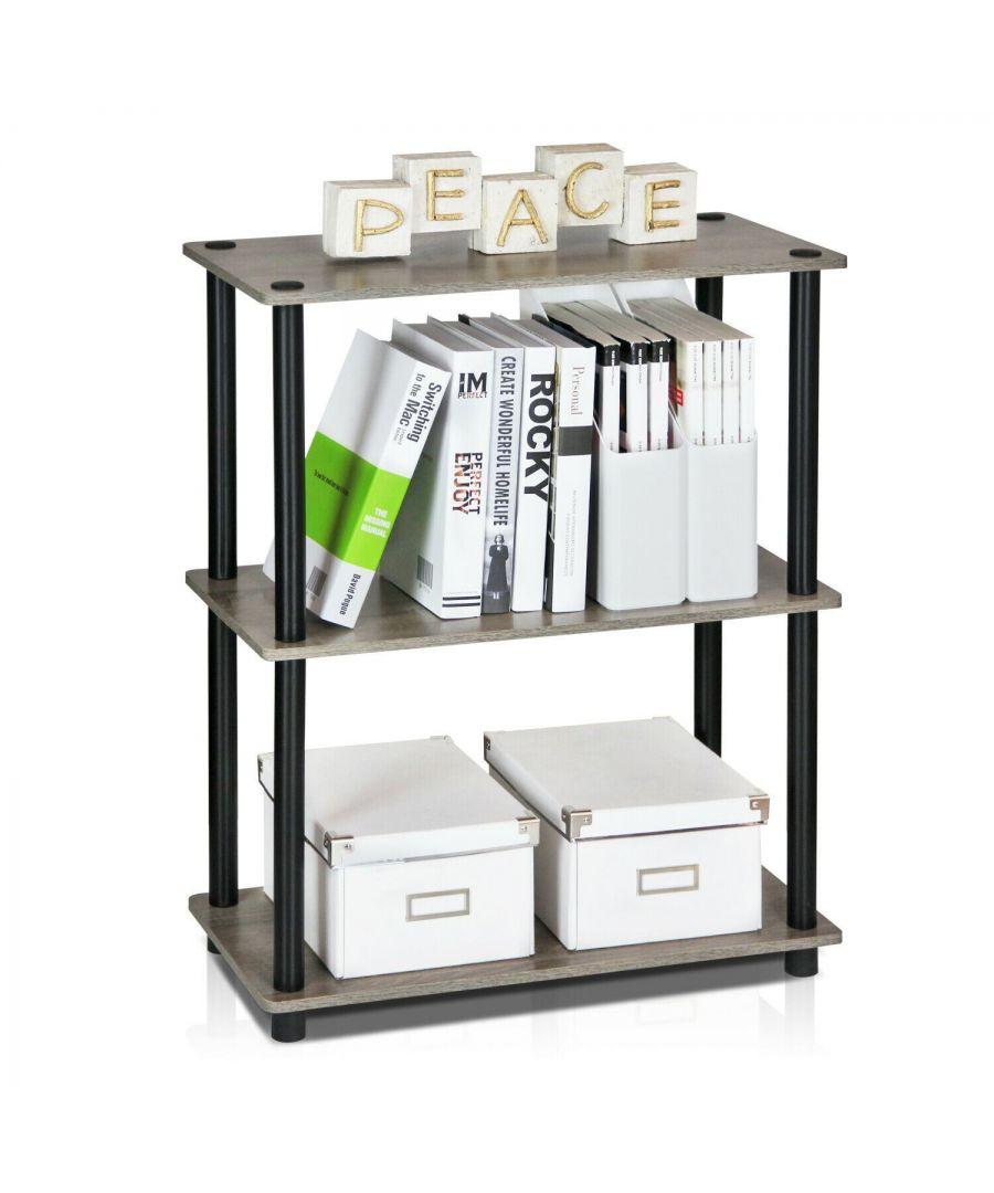Image for Furinno Turn-N-Tube 3-Tier Compact Multipurpose Shelf Display Rack, Grey/Black