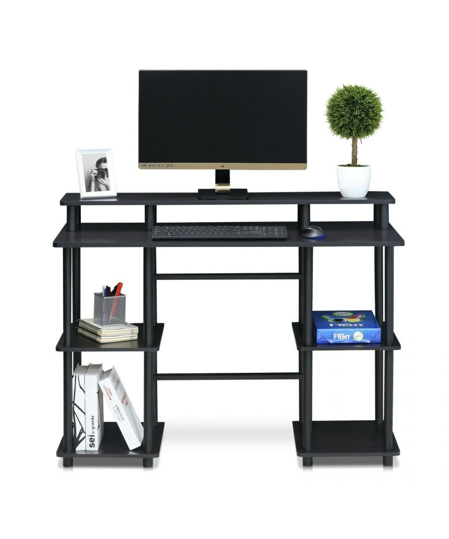 Image for Furinno Turn-N-Tube Computer Desk with Top Shelf - Espresso/Black