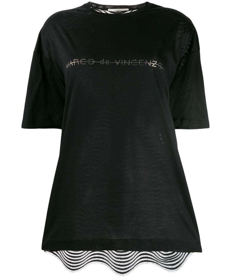 Image for MARCO DE VINCENZO WOMEN'S MJT002MDVCO05099 BLACK COTTON T-SHIRT