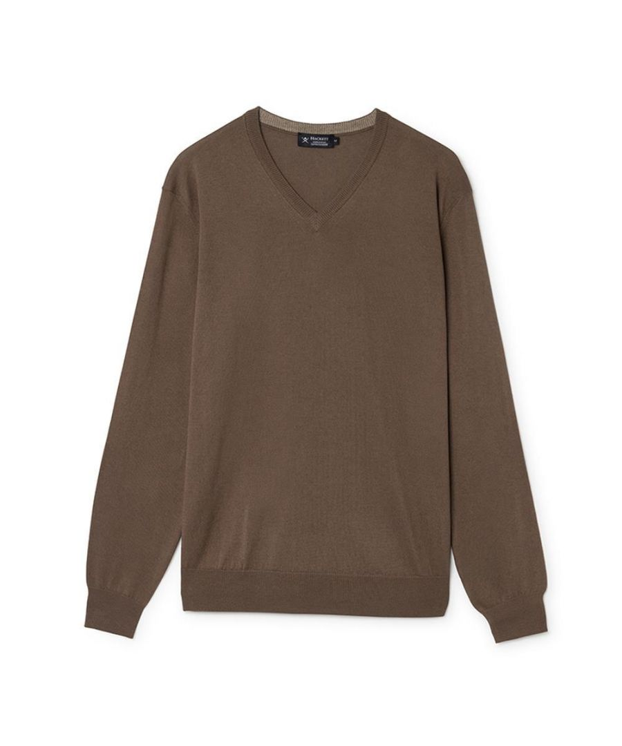 Image for Men's Hackett, Cotton & Cashmere V Neck Sweater in Brown