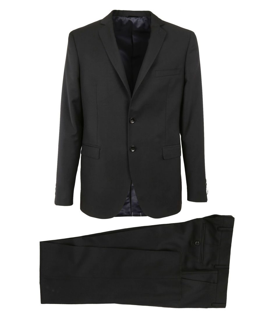Image for TONELLO MEN'S 01AD240Y6785U990 BLACK WOOL SUIT
