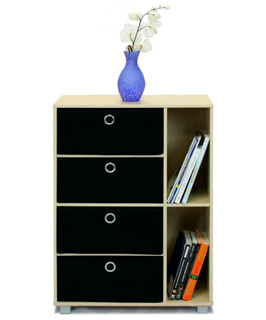 Image for Furinno Andrey Multipurpose Storage Cabinet with Bin Drawers - Steam Beech with Black Bins