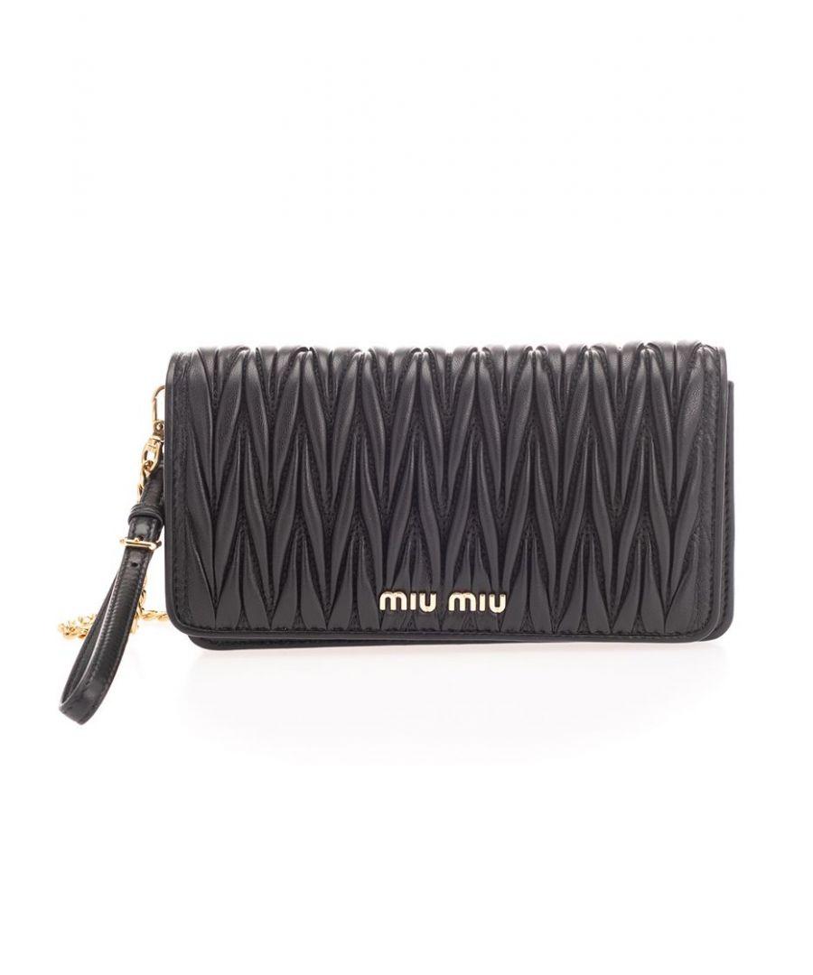 Image for MIU MIU WOMEN'S 5DH029N88F0002 BLACK LEATHER SHOULDER BAG