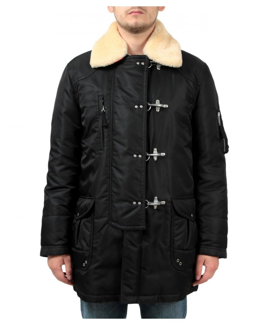 Image for FAY MEN'S NAM36391090RKQB999 BLACK POLYESTER COAT