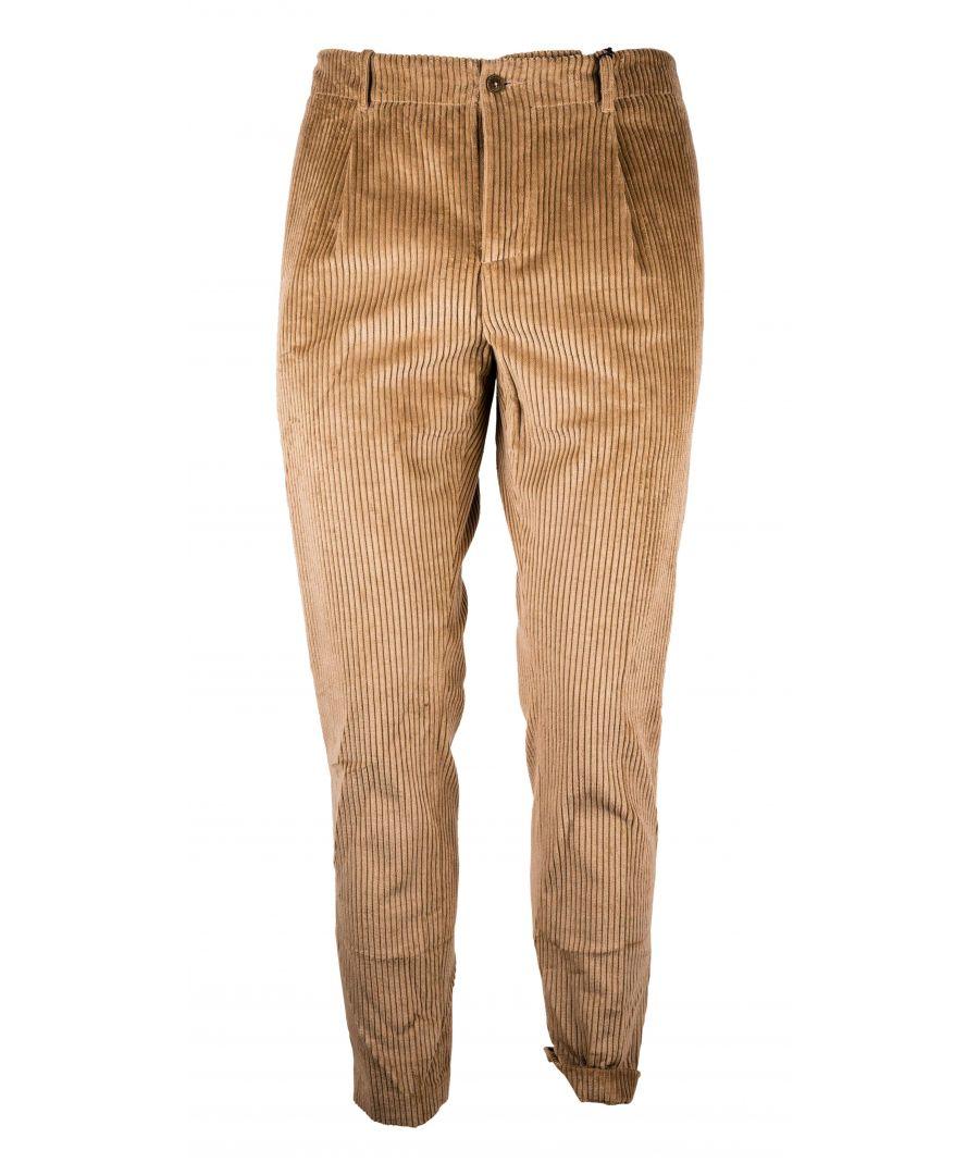 Image for DANIELE ALESSANDRINI MEN'S P3641S213838050 BROWN VELVET PANTS