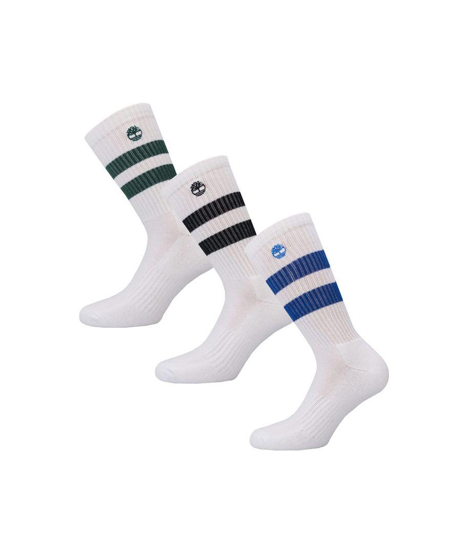 Image for Men's Timberland 3 Pack Crew Socks in White