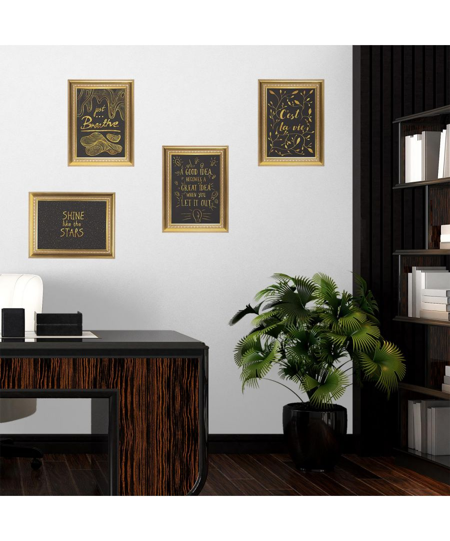 Image for Gold Frame Motivational Posters Set wall decal, wall decal bedroom, wall decal living room, wall decoration living room, wall stickers 29 x 39 cm / 11.2 x 15.3in with 4  pieces