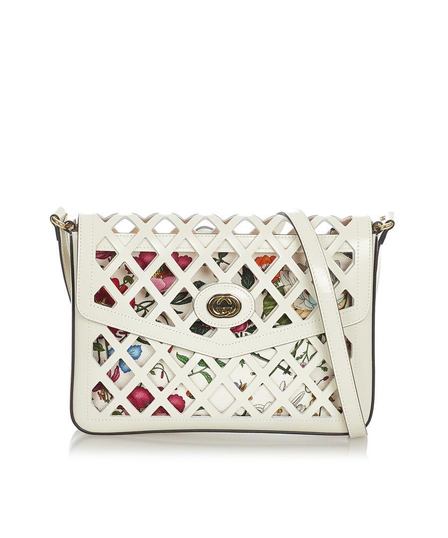 Image for Vintage Gucci Traforata Cutout Flora Leather Crossbody Bag White