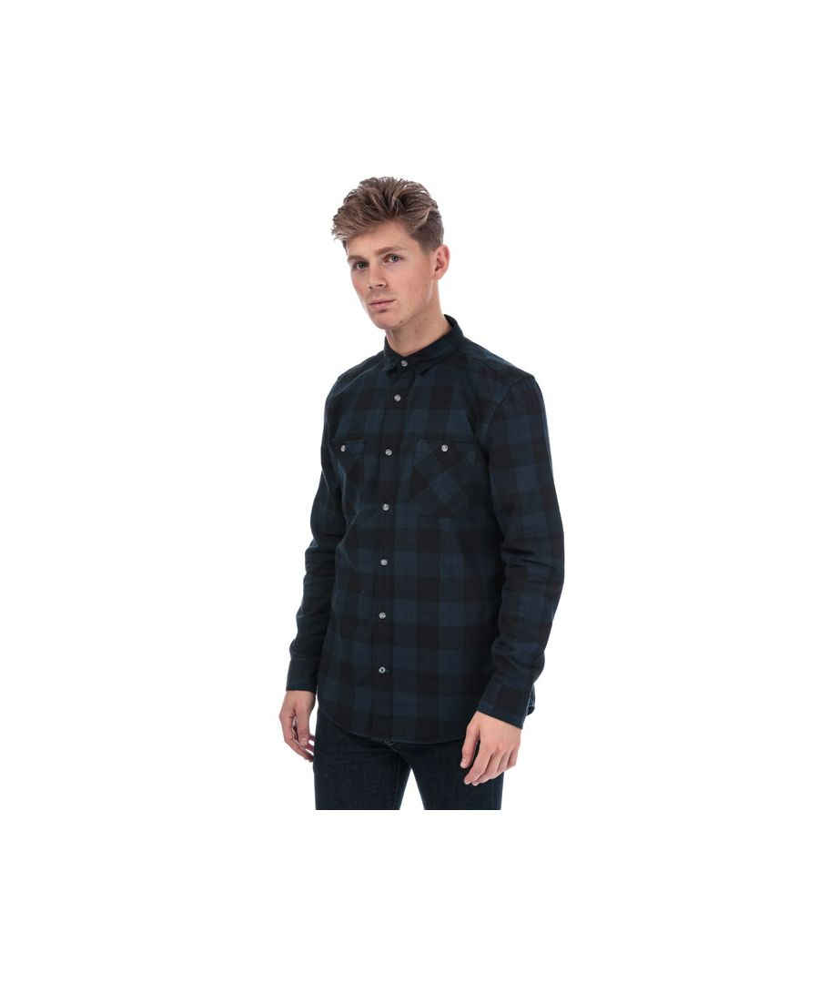 Image for Men's Timberland Long Sleeve Buffalo Check Flannel Shirt in Navy