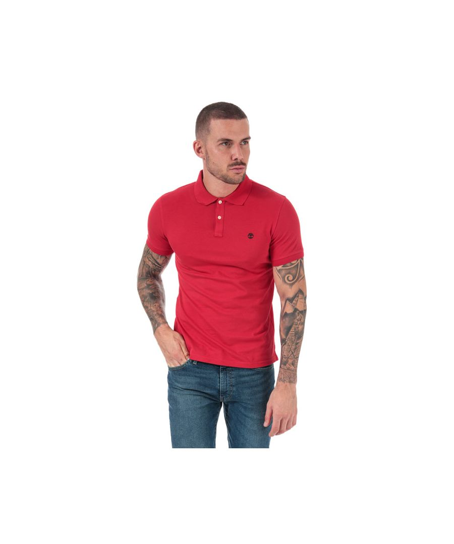 Image for Men's Timberland Millers River Jacquard Polo Shirt in Red