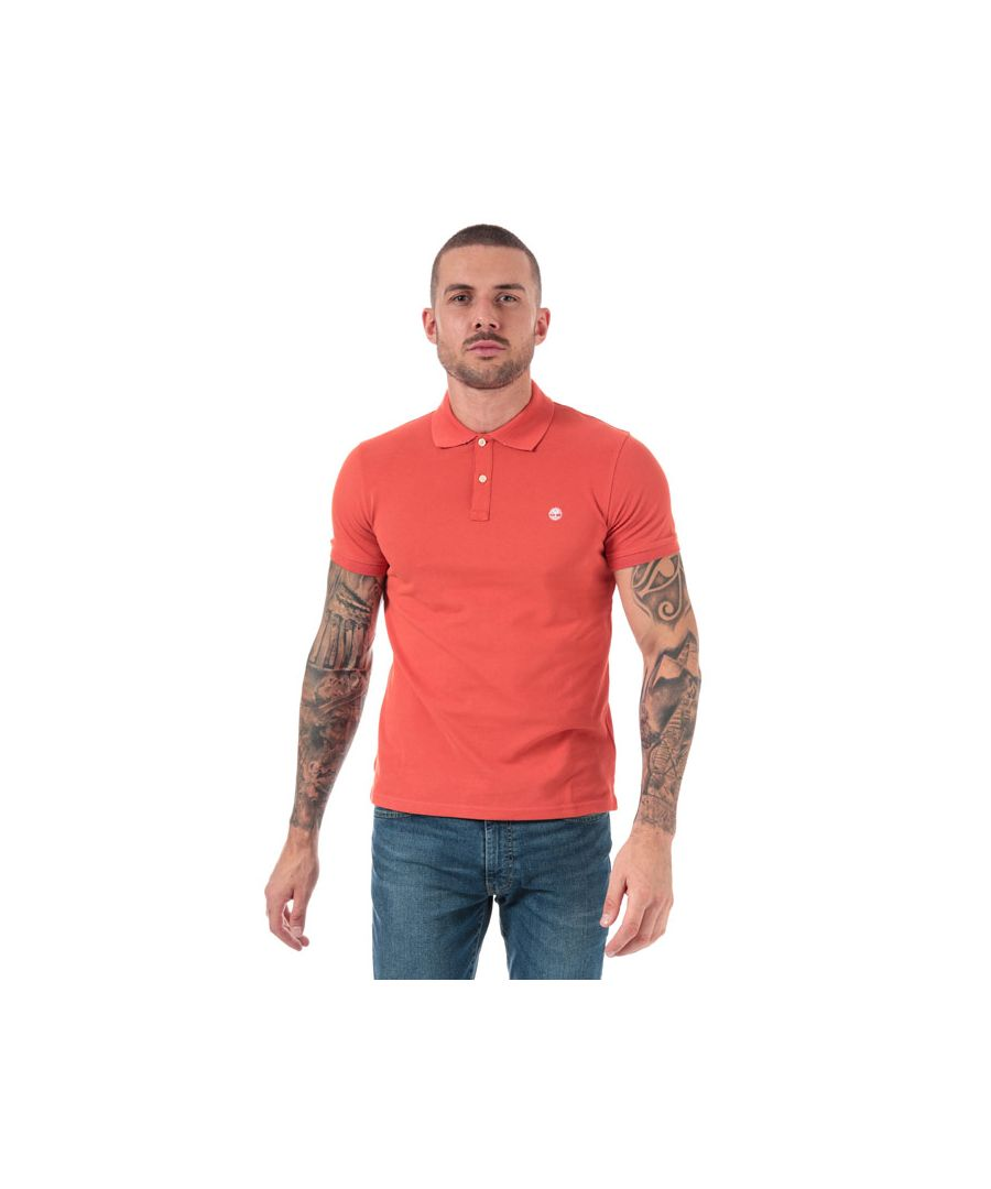 Image for Men's Timberland Millers River Jacquard Polo Shirt in Coral