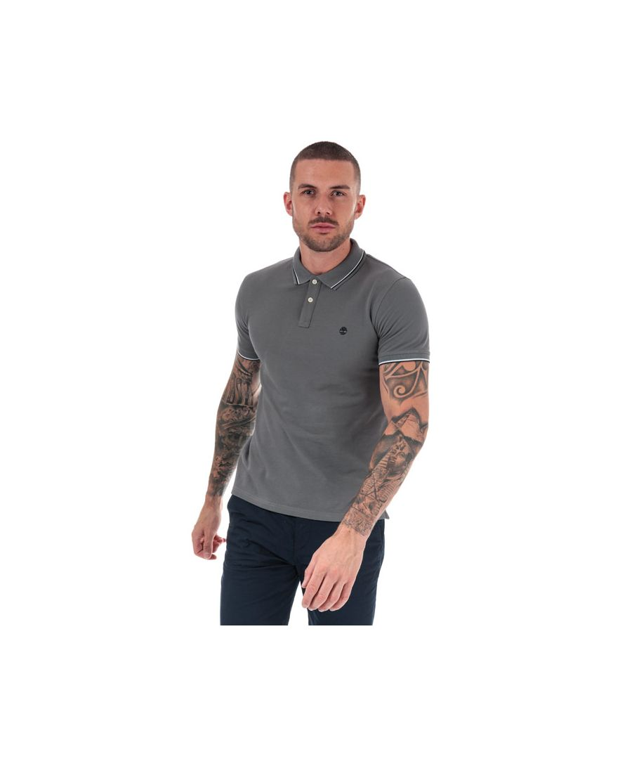 Image for Men's Timberland Millers River Tipped Polo Shirt in Grey