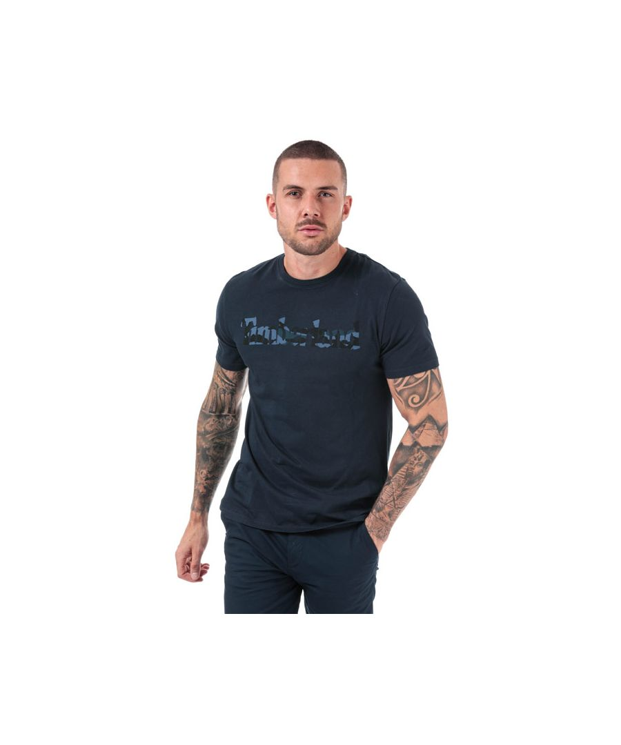 Image for Men's Timberland Kennebec River Camo Linear Logo T-Shirt in Navy