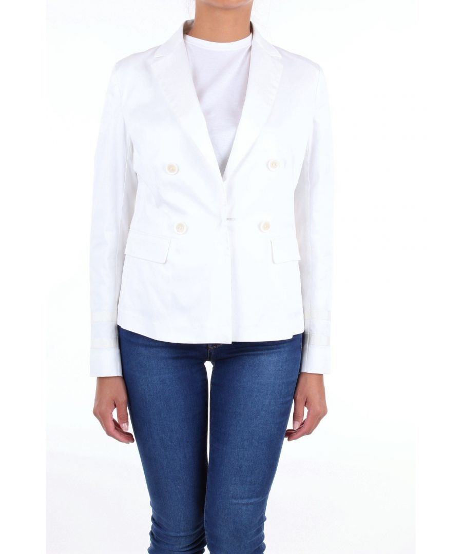 Image for LES COPAINS WOMEN'S 0J6020BIANCO WHITE COTTON BLAZER
