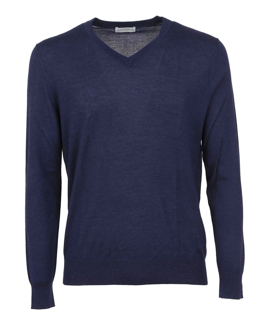 Image for BALLANTYNE MEN'S O2P00116K2213057 BLUE CASHMERE SWEATER
