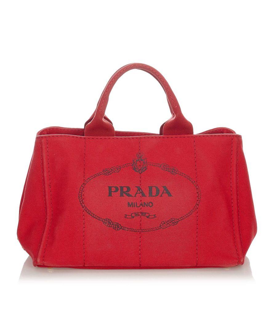 Image for Vintage Prada Canapa Logo Canvas Handbag Red