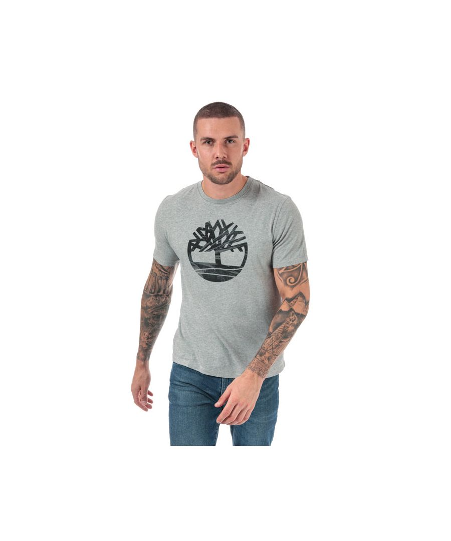 Image for Men's Timberland Kennebec River Pattern Tree T-shirt in Grey Heather