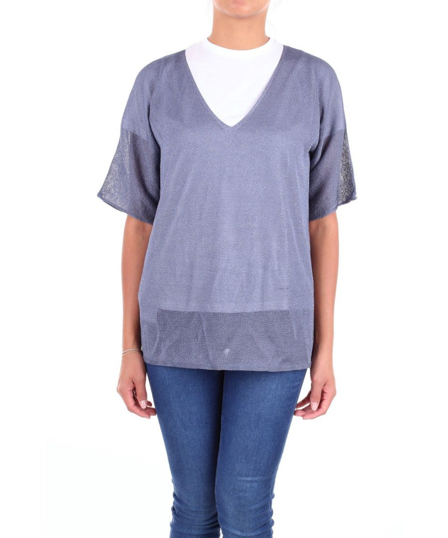 Image for LES COPAINS WOMEN'S 0L1038AVION BLUE VISCOSE JUMPER
