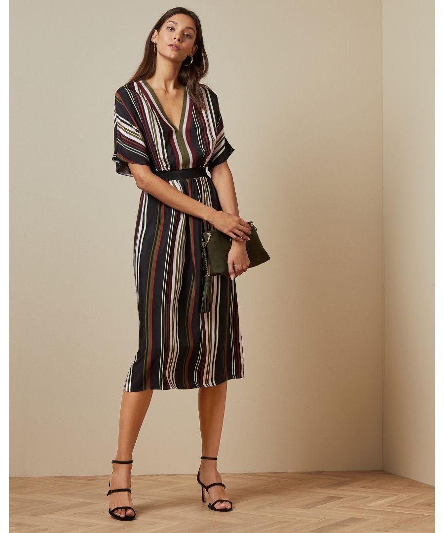 Image for Ted Baker Safiiya Short Sleeve Stripe Midi Dress, Black