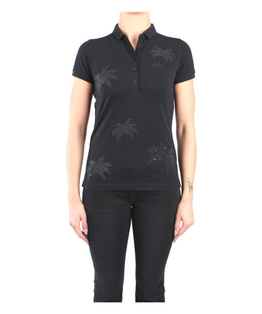 Image for SUN 68 WOMEN'S A3020511 BLACK COTTON POLO SHIRT