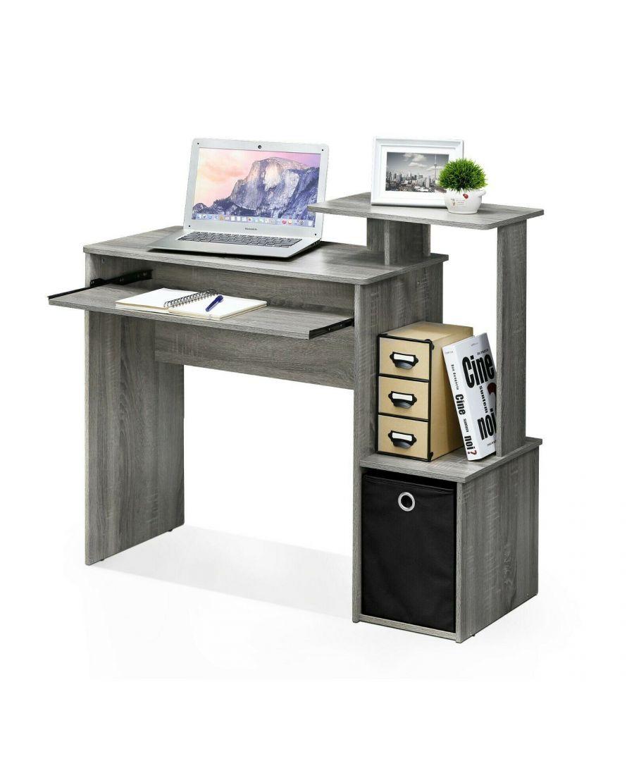 Image for Furinno Econ Multipurpose Home Office Computer Writing Desk w/Bin, French Oak Grey