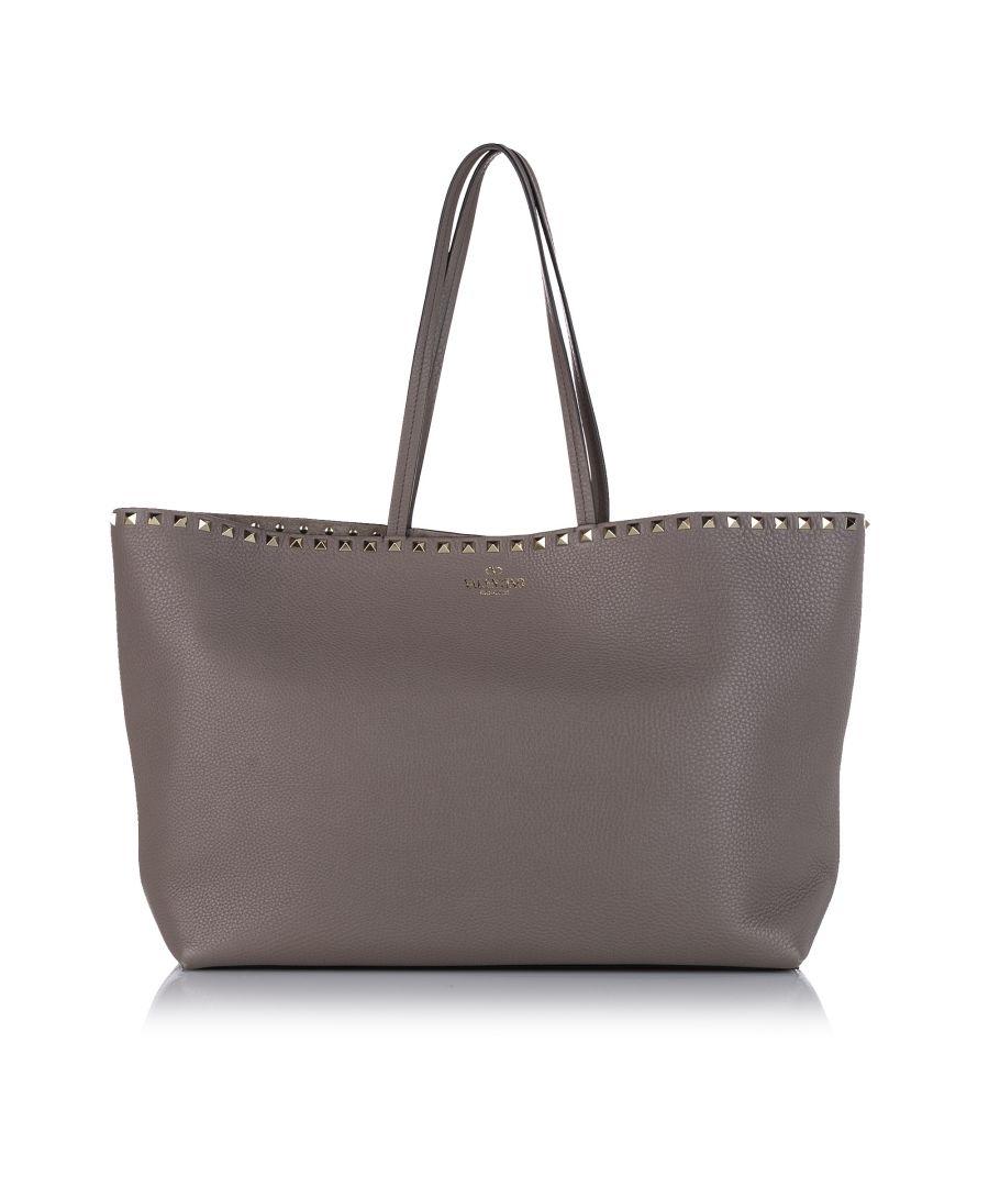 Image for Vintage Valentino Rockstud Leather Tote Bag Brown