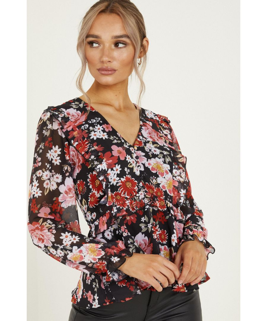 Image for Black Floral Chiffon Peplum Top