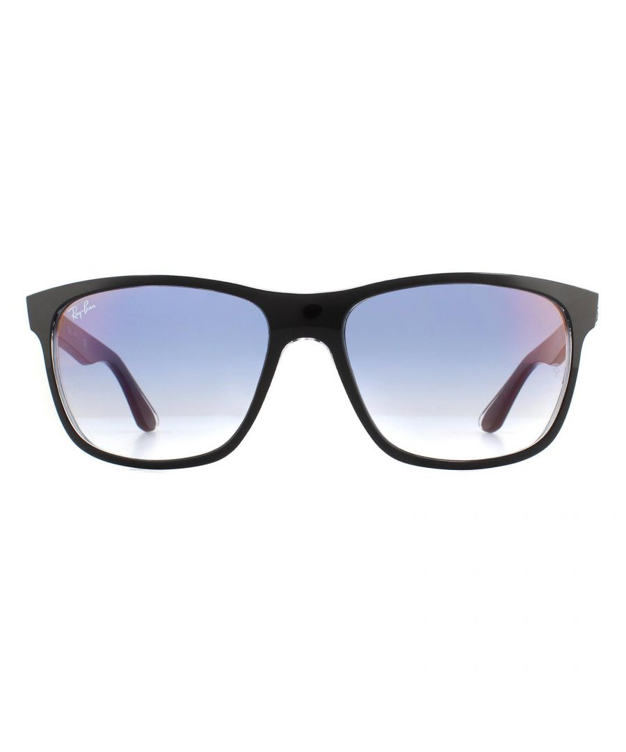 Image for Ray-Ban Sunglasses 4181 6039X0 Top Black on Transparent Gradient Blue Mirror Red