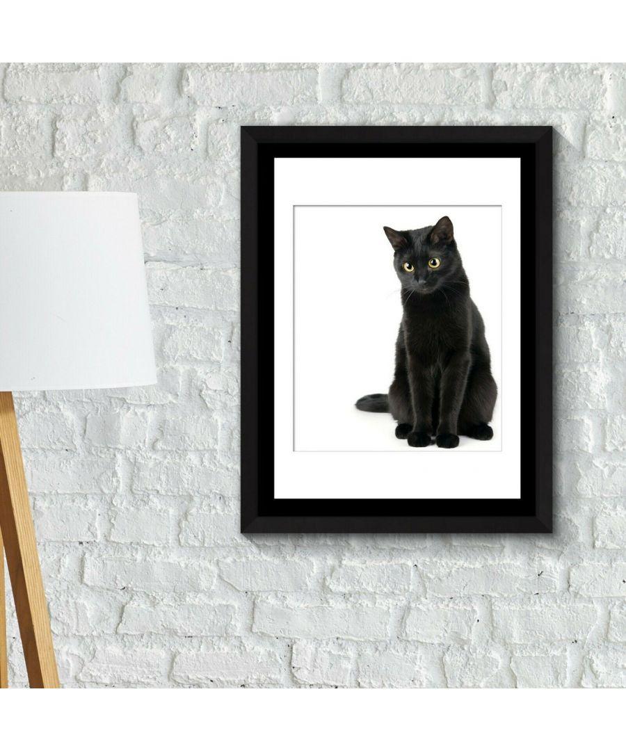 Image for Framed Art 2in1 Black Cat thinking Poster Framed Photo, Framed Art